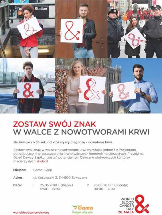 Dni Dawcy Szpiku Kostnego w Zakopanem - plakat