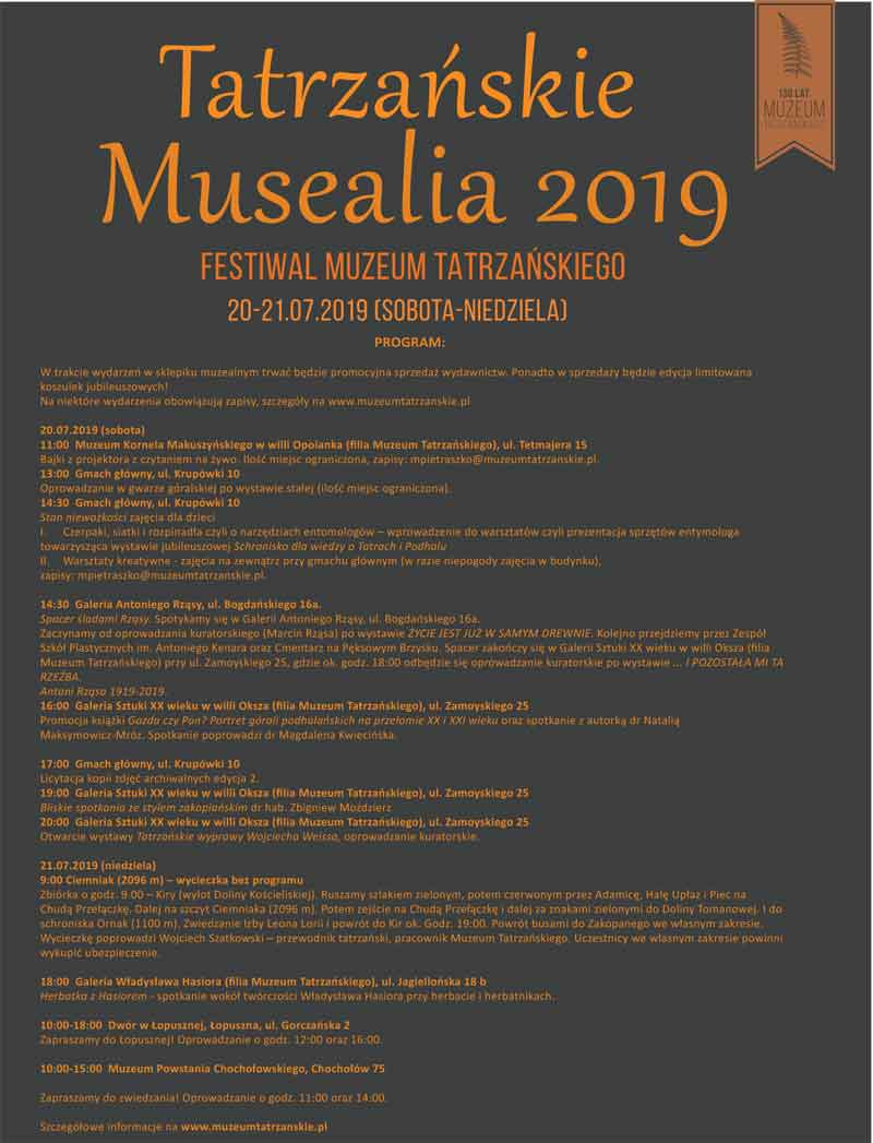 Tatrzańskie Musealia - Festiwal Muzeum Tatrzańskiego