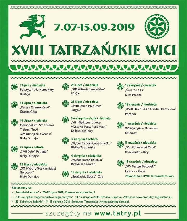 Tatrzańskie Wici 2019, program