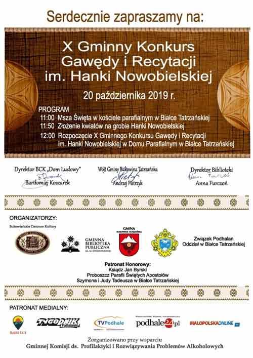 X Gminny Konkurs Gawędy i Recytacji im. Hanki Nowobielskiej, plakat
