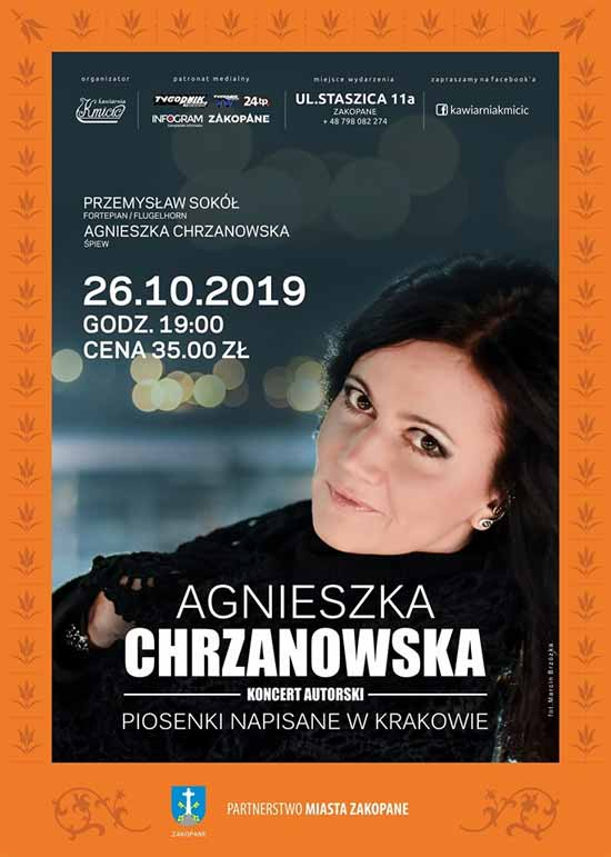 Koncert autorki Agnieszki Chrzanowskiej w Kawiarni Kmicic, plakat