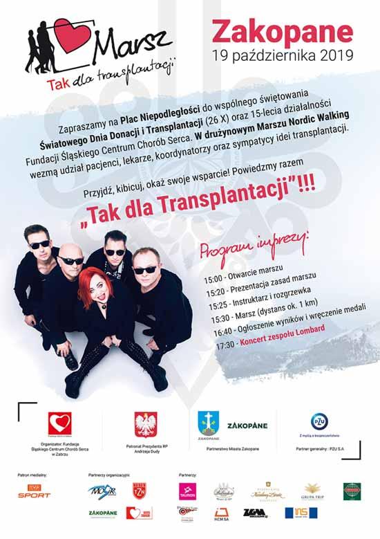 Marsz TAK dla transplantacji - Nordic Walking w Zakopanem, plakat