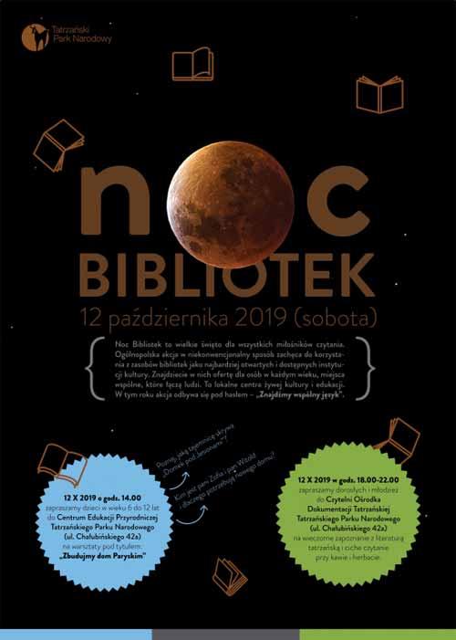 Noc Bibliotek w Tatrzańskim Parku Narodowym, plakat